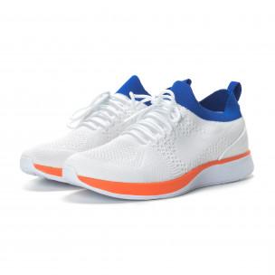 Меки мъжки маратонки в бяло с акценти 2