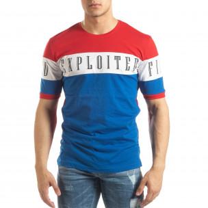 Мъжка тениска с червени и сини блокове