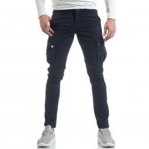 Син мъжки панталон с карго джобове 2