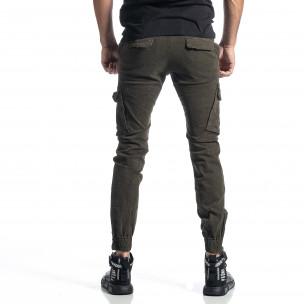 Зелен панталон Cargo Jogger с ципове на крачолите  2
