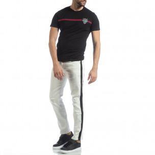 Ултрамодерни мъжки дънки в бяло с кантове TMK