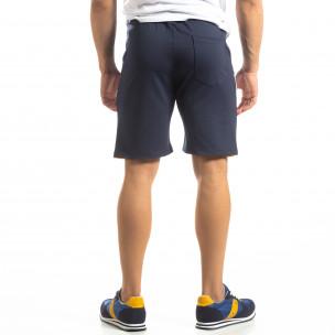 Сини мъжки шорти с бяло и жълто 2