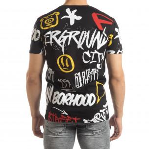 Мъжка черна тениска с графити  2