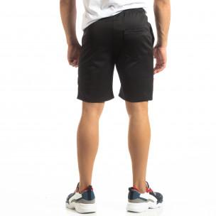 Мъжки черни шорти с ивици  2