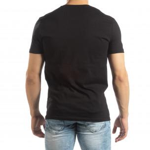Черна мъжка тениска с гумени рамки  2