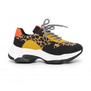 Дамски цветни маратонки леопард мотив