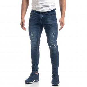 Мъжки сини дънки с ефектни кръпки Slim fit  2
