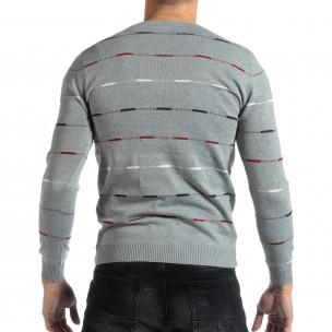 Сив мъжки пуловер с цветни райета  2
