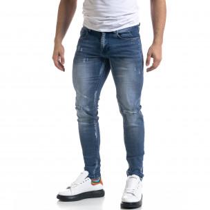 Slim fit мъжки сини дънки с прокъсвания