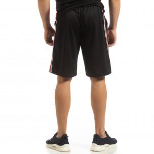 Ултралеки мъжки шорти в черно с кантове  2