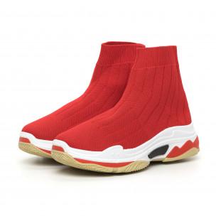 Дамски плетени Slip-on маратонки в червено 2