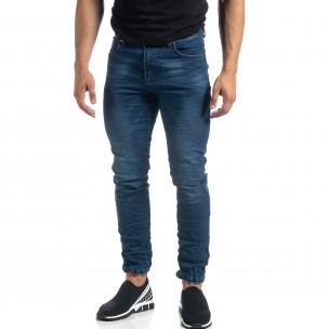 Намачкани сини мъжки дънки Slim fit  2