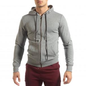 Basic мъжки памучен суичър в сиво  2