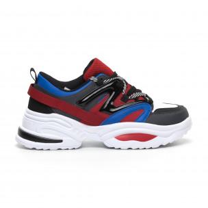 Синьо-червени мъжки маратонки Chunky дизайн