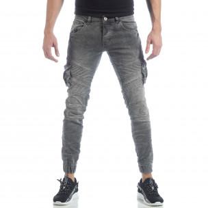 Рокерски мъжки Cargo Jeans в сиво  2