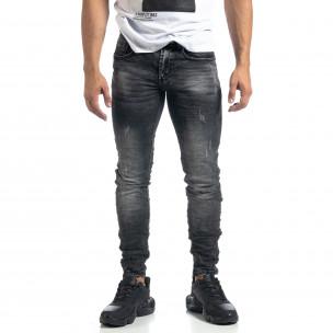Изтъркани мъжки сиви дънки с прокъсвания Slim fit