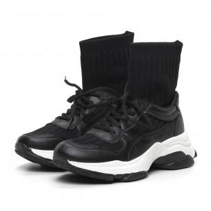 Черни дамски маратонки-чорап с дебела подметка  2