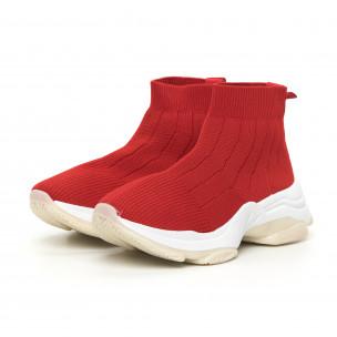 Плетени червени дамски маратонки Slip-on  2