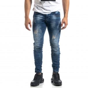 Сини мъжки дънки състарен ефект Slim fit  2