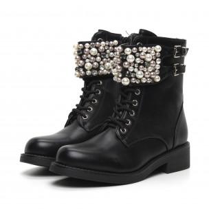 Дамски черни боти с перли и камъни 2