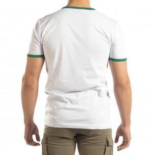Бяла мъжка тениска зелени биета  2