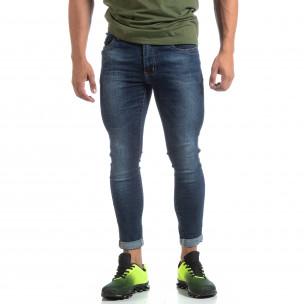Skinny мъжки сини изтъркани дънки