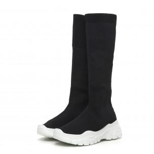 Дамски черни ботуши тип чорап бяла подметка 2