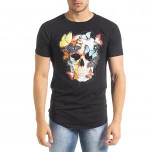 Мъжка черна тениска Romantic Skull  2