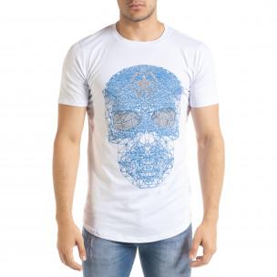 Бяла мъжка тениска с принт и камъчета