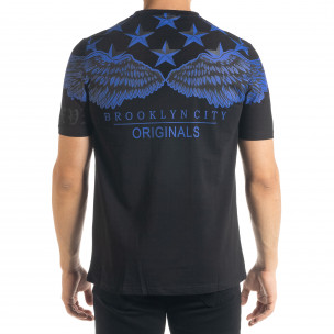 Черна мъжка тениска рокерски стил 2