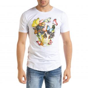 Мъжка бяла тениска Romantic Skull