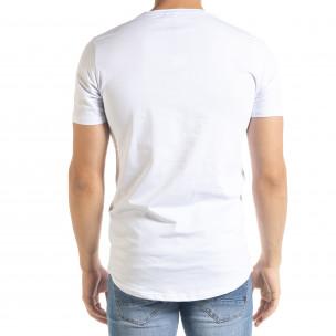 Бяла мъжка тениска с принт и камъчета  2
