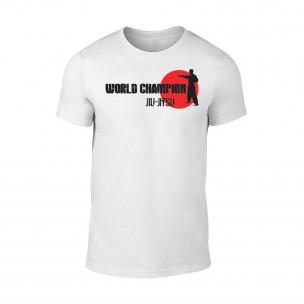 Мъжка бяла тениска World Champion Jiu Jitsu