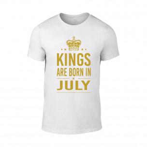 Мъжка бяла тениска Kings Are Born In July