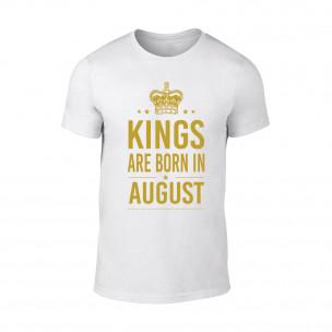 Мъжка бяла тениска Kings Are Born In August