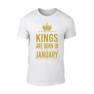 Мъжка бяла тениска Kings Are Born In January
