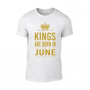 Мъжка бяла тениска Kings Are Born In June