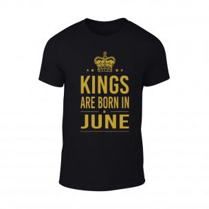 Мъжка черна тениска Kings Are Born In June