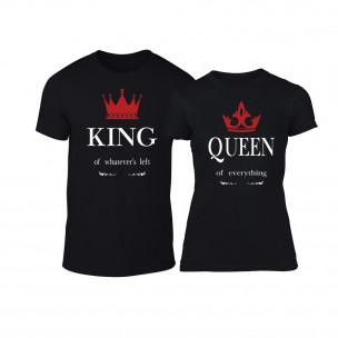 Тениски за двойки King Queen черни