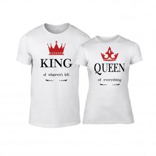 Тениски за двойки King Queen бели TEEMAN