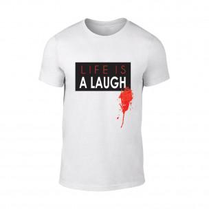 Мъжка бяла тениска Laugh