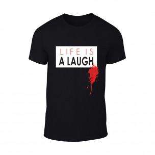 Мъжка черна тениска Laugh