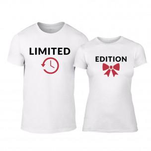 Тениски за двойки Limited Edition бели TEEMAN