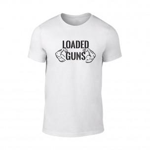 Мъжка бяла тениска Loaded Guns