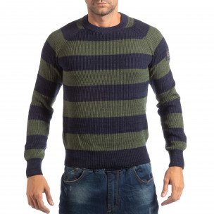 Раиран мъжки пуловер RESERVED в синьо и зелено