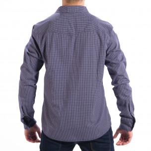 Мъжка карирана риза CROPP Slim fit в синьо  2
