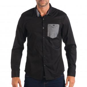 Мъжка риза с контрастен джоб CROPP в черно