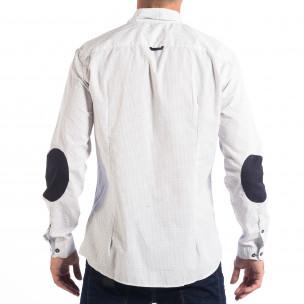 Slim бяла риза RESERVED с десен и лакти  2