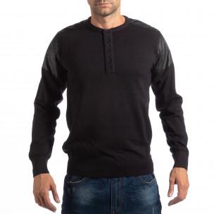House пуловер в черно с кожени детайли