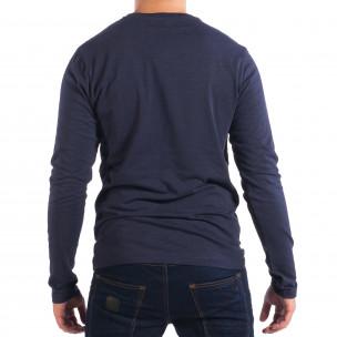 Мъжка синя блуза с джоб 2